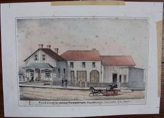Four hand-coloured litho views of residences and street scenes in Ontario. H. Belden Co., Publisher