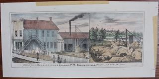Four hand-coloured litho views of residences and street scenes in Ontario