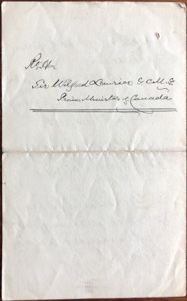 Autograph Letter Signed by Wilfrid Laurier while in office as Prime Minister of Canada, to Sir Frederick Young