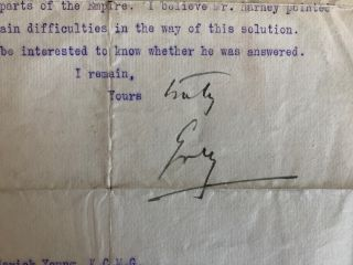 Sir Albert Henry George Grey, 4th Earl Grey typed letter signed (TLS) to Sir Fredrick Young