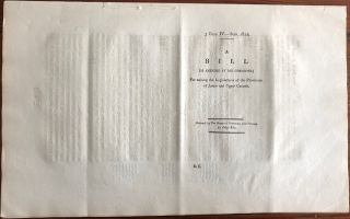 A Bill (as amended for the Committee) for uniting the Legislatures of the Provinces of Lower and Upper Canada