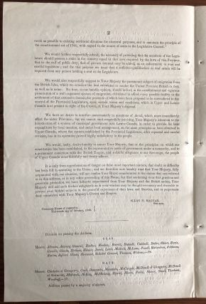 Address to Her Majesty, on the subject of the Re-union of the Provinces of Upper and Lower Canada