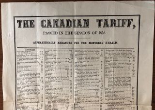 The Canadian Tariff passed in the Session of 1858. Alphabetically Arranged for the Montreal Herald broadside
