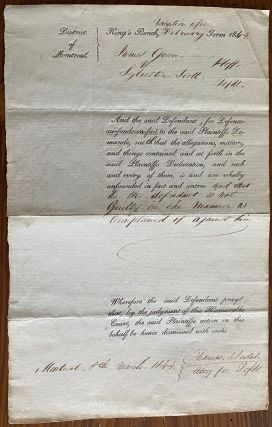 Thomas S. Judah lawyer legal document No. 1037. King's Bench James Green, plaintiff vs....