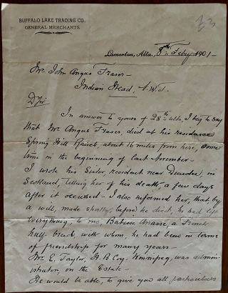 W. Hutchinson of Buffalo Lake Trading Co. In relation to the death and will of Angus Fraser