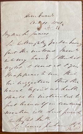 Manuscript letter signed to Sir James Graham relating a recommendation by Sir James Willoughby...