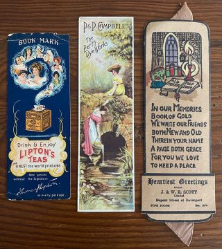 Three Canadian bookmarks, one each for Lipton Teas, P&P Campbell and J. & W. R. Scott Limited....