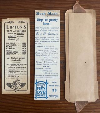 Three Canadian bookmarks, one each for Lipton Teas, P&P Campbell and J. & W. R. Scott Limited