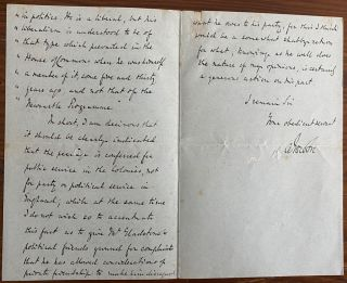 Arthur Charles Hamilton-Gordon, 1st Baron Stanmore three page autographed letter marked Private Confidential