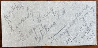 George Young (Catalina Kid) and Margaret Ravior marathon swimmers signatures. George YOUNG,...