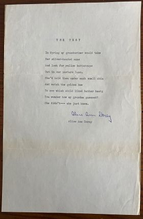 "Alice Ann Dorey typescript poem titled ""The Test"" signed. Alice Ann DOREY"