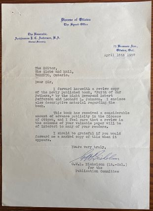 Lt.-Col. G.W.L. Nicholson typed letter signed to editor of the Globe and Mail. Lt.-Col. G. W. L....