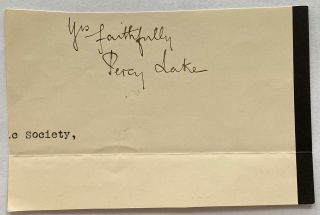 Percy Lake cut signature. Lieutenant-General Sir Percy Henry Noel LAKE