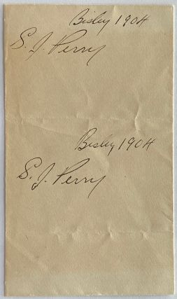 Two Private S.J. Perry signatures of the 6th Regiment, The Duke of Connaught's Own Ri es,...