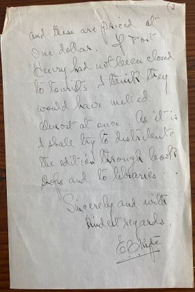 E.C. Kyte autograph letter signed, to Rupert Davies