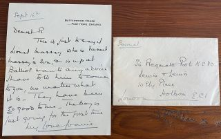 Letter of Joan Peveril Ward Poole (signed Joanie) to her father regarding Lionel Massey. Joan...
