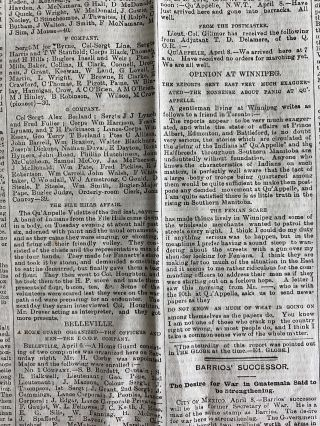 "Seven ""The Globe"" and One ""The Toronto Daily Mail"" newspapers, with each issue reporting on the North-West (Louis Riel) rebellion"