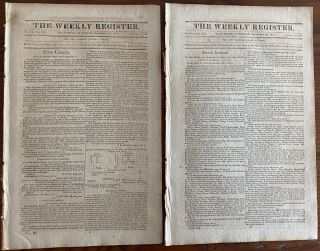 General Brock & William Hull content - Two (2) issues of The Weekly Register newspaper, Sept. 19...