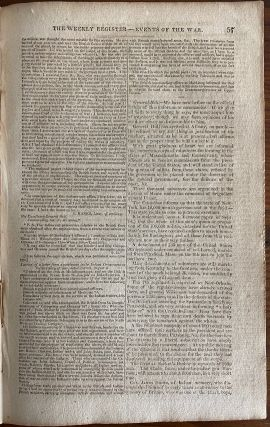 General Brock & William Hull content - Two (2) issues of The Weekly Register newspaper, Sept. 19 & 26, 1812 on War of 1812
