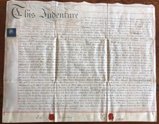 1786 Indenture parchment agreement with William Perkins and Edward Crawshaw. William PERKINS,...