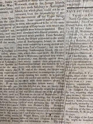 The Essex Register Newspaper Nov. 10, 1824 article on arctic ship Griper regarding the Northwest Expedition journey back to port.