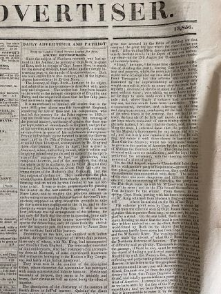 Long front-page article on the 1833 expedition of Captain George Back's in search of the lost expedition of Captain James Ross
