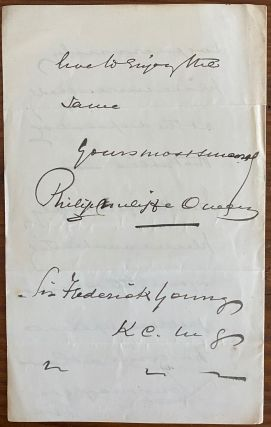 Philip Cunliffe-Owen holograph letter to Frederick Young
