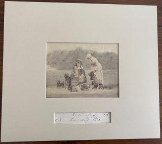 Albumen photo circa 1880's of Queen Victoria with Princess Beatrice and a Group of 4 Dogs plus a...