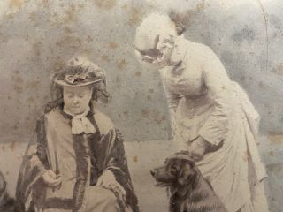 Albumen photo circa 1880's of Queen Victoria with Princess Beatrice and a Group of 4 Dogs plus a copy of a note originally written by Queen Victoria 1876