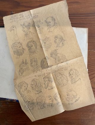 William Doughtie sketch and scrap book with pencil drawings and newspaper clippings from 1870' to 1880's.