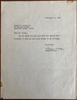 Norman Mailer Letters and Book collection