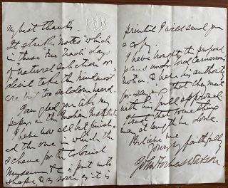 Two 3pp. holograph letters from John Forbes Watson to Frederick Young