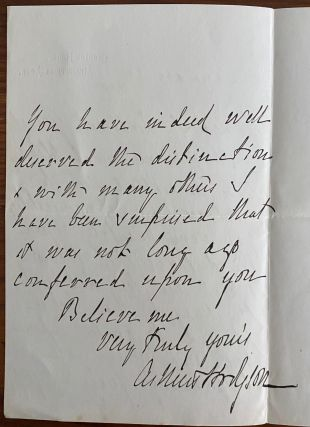 Holograph letter from Arthur Hodgson to Sir Frederick Young