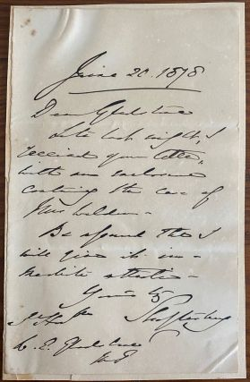 Holograph letter from Anthony Ashley Cooper, 7th Earl of Shaftesbury. Anthony Ashley COOPER, 7th...