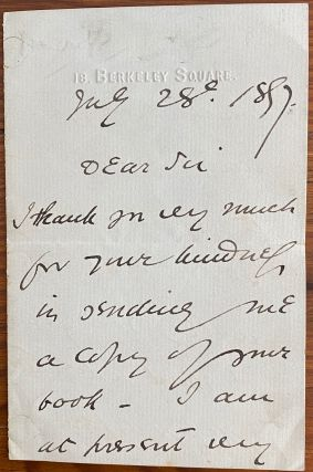 Holograph 3pp. letter dated July 28 1897 to an unnamed recipient. Sir Squire BANCROFT, Squire...
