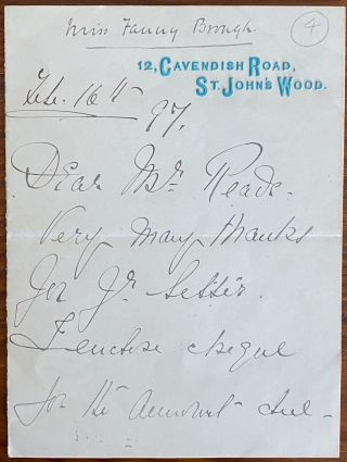 "Holograph 2pp. letter from Frances ""Fanny"" Whiteside Brough. Frances ""Fanny"" Whiteside BROUGH"