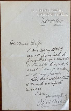Holograph letter from Alfred Bishop to Miss Phelps. Alfred BISHOP