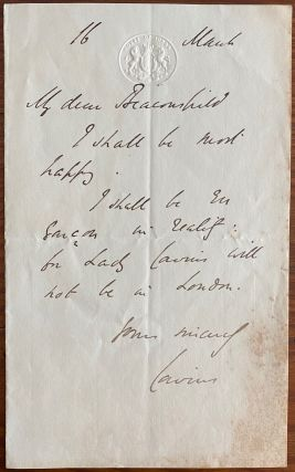 Holgraph Letter from Hugh McCalmont Cairns, 1st Earl Cairns to Benjamin Disraeli. Hugh McCalmont...