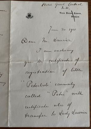 Manuscript letter from Lady Ishbel Aberdeen to Wilfrid Laurier. Lady ABERDEEN, Sir Wilfrid...