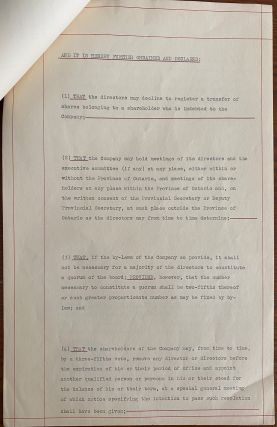 Letters of Patent, signed by Roland Michener for Whitney-Smith Limited