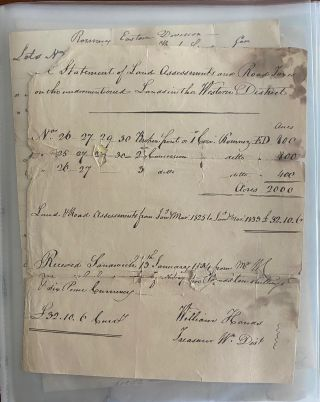 Judge William Collis Meredith, remarkable archive collection spanning from 1834 to 1895 (61 years), relating to the management of 2,000 acres of land initially acquired by him in the Romney Township, southern Ontario in 1834.