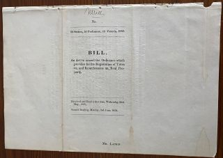 Collection of Seven (7) Canada Imprints and Bills dating from c1837 to 1858 relating primarily Clergy and Land Issues in Upper Canada