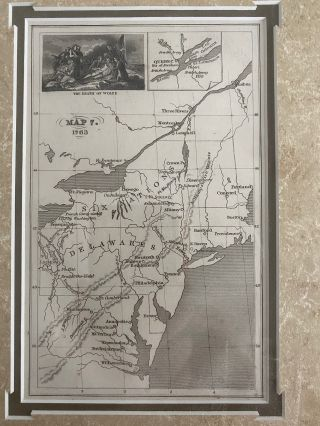 Map of Boundaries in 1763, showing Six Nations & Delawares (and the Death of Wolfe inset) beautifully framed