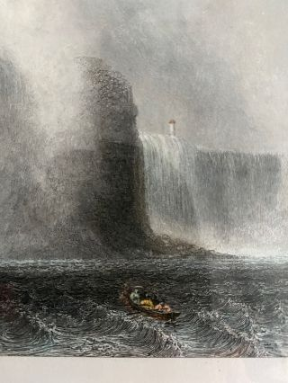 """""""Niagara Falls from the Ferry"""" hand-coloured engaving"""