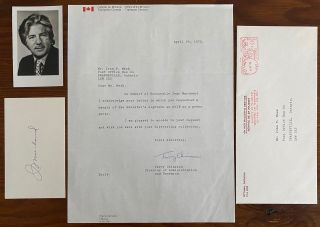 Jean Marchand typed signed letter and small B&W photo. Jean MARCHAND