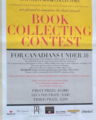 BSC - Canada's Third National Book Collecting Contest Poster